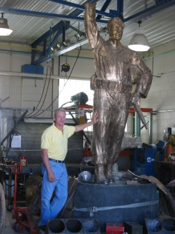 "Guy and the ""Citizen Soldier"" for the Kane County Veterans Memorial at the foundry"